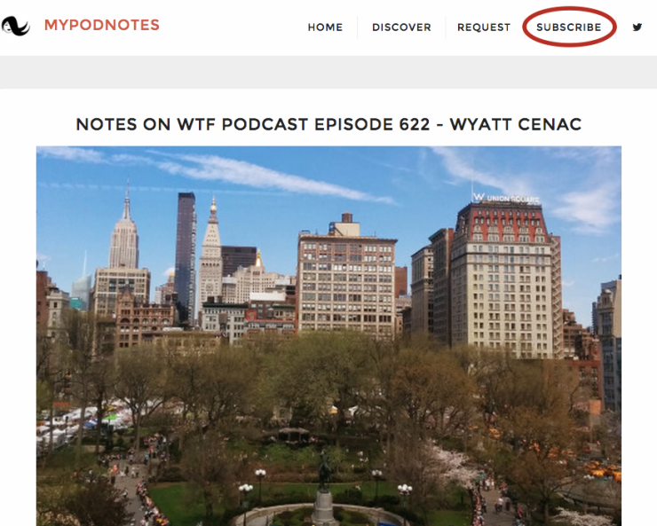 mypodnotes subscribe navigation bar