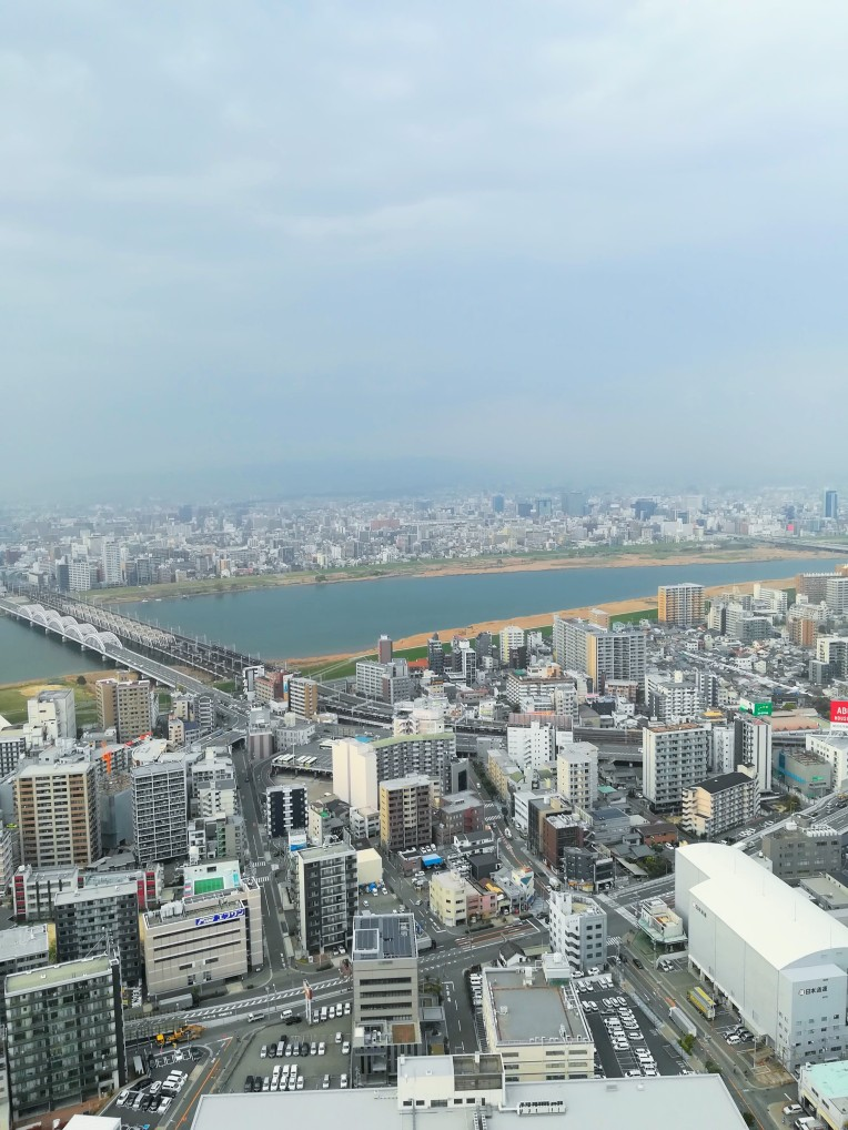Umeda Sky Building and Sakura Mille Crepe Cake